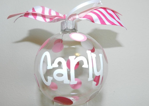 "3 1/4"" Inch Personalized Glass Ornament. $8.00, via Etsy."