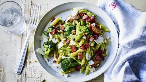 BBC Food - Recipes - Express bacon and pesto pasta