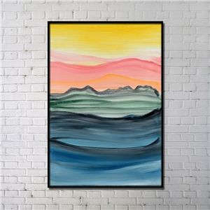Contemporary Wall Art Sunset Abstract Printing with Black Frame 32