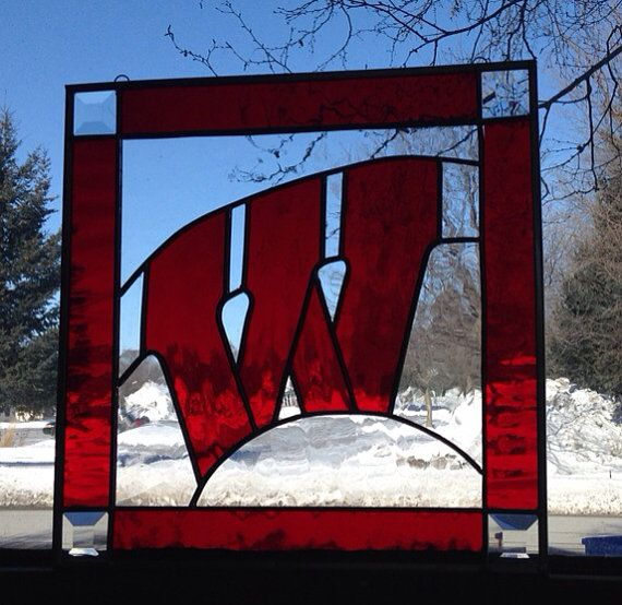 Wisconsin Badgers Motion W Stained Glass Panel - New CLEAR Background on Etsy, $165.00