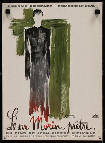 1961 I French I Leon Morin, Pretre I Raymond Gid artwork for Jean-Pierre Melville film starring Jean-Paul Belmondo
