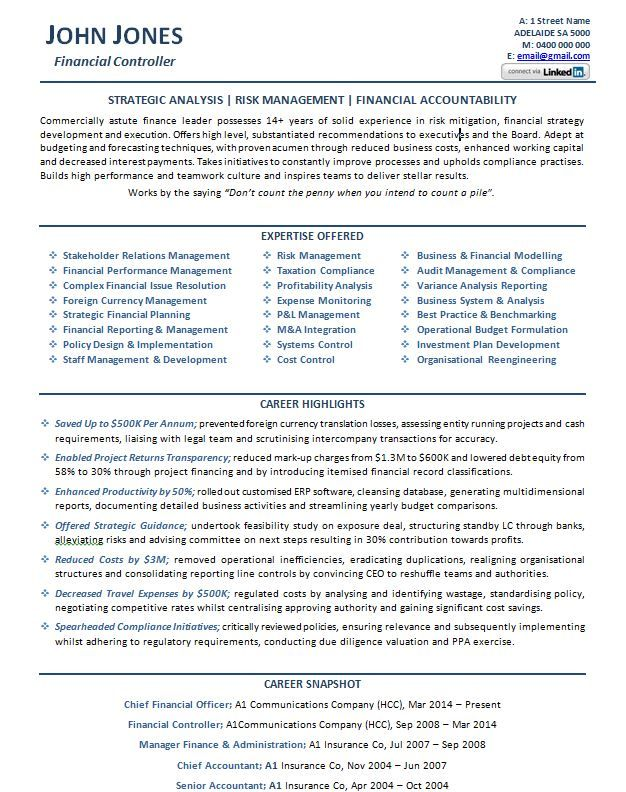 CFO Resume Example p1  Career  Pinterest  Resume examples Executive resume and Professional