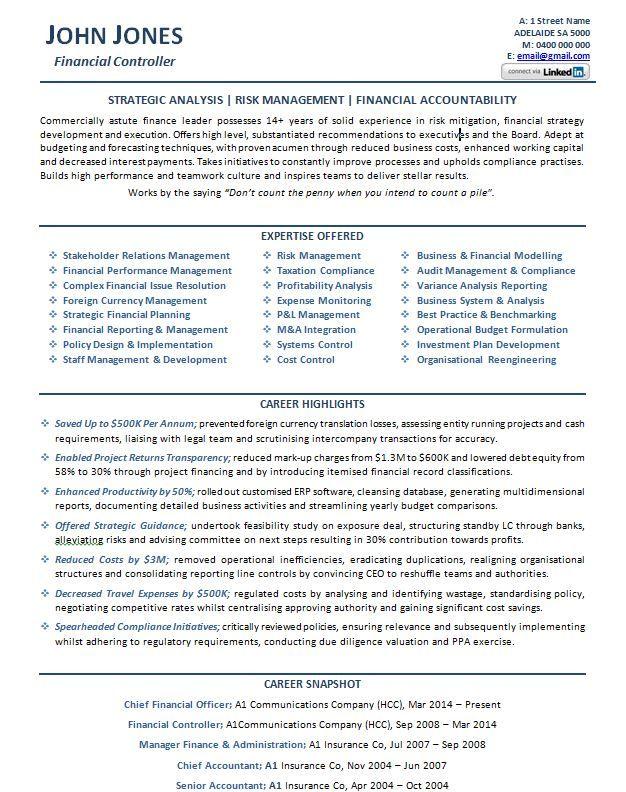 CFO Resume Example p1 | Career | Resume, Sample resume, Resume examples