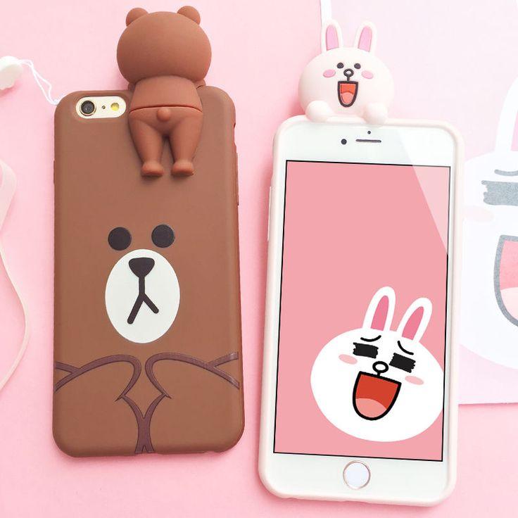 6.99 – Cute 3D Bär Brown Bunny Cony Tpu Stoßfest Fall Deckung für iPhone 7 7Plus 6 6S #ebay #Electronics