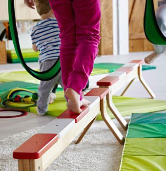 Ikea balance beam and Children's IKEA crash mats. For playroom, help with winter boredom!