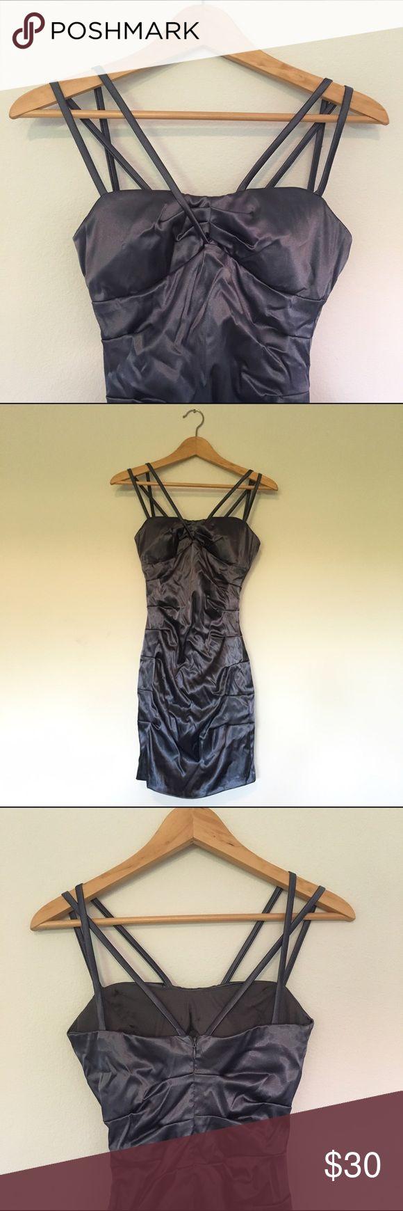 B. Darlin silver bodycon dress Tight fitting silver satin mini dress; slightly worn B. Darlin Dresses Mini