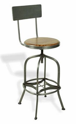 Vintage industrial High Stool With Backrest -  £246.00 - Hicks and Hicks