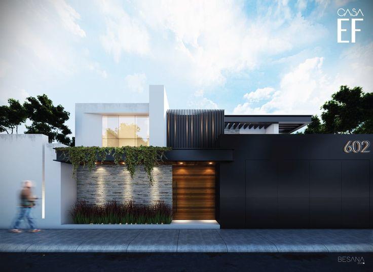 Busca imágenes de Casas de estilo minimalista en blanco: Propuesta de fachada exterior 1. Encuentra las mejores fotos para inspirarte y crea tu hogar perfecto.