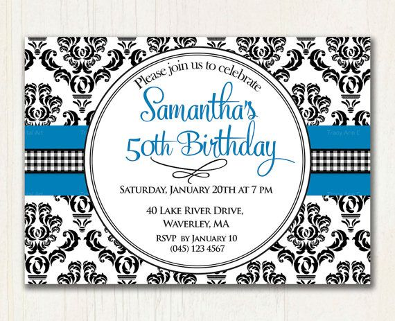 18 best Birthday Invites for Mom images – Damask Birthday Invitations