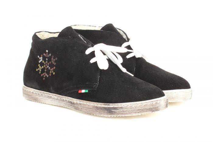 Alessandro Замшевые черные ботинки со стразами от бренда Alessandro