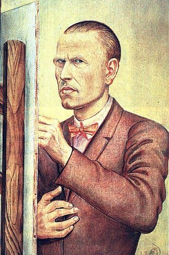 Otto Dix. Self Portrait with Easel, 1926, oil on panel, Leopold-Hoesch-Museum, Düren, Germany - German painter and printmaker