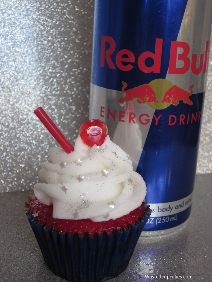 Baked and infused with Vodka and Redbull and topped with Vodka Redbull buttercream frosting. Edible silver stars, sparkles, and a red straw