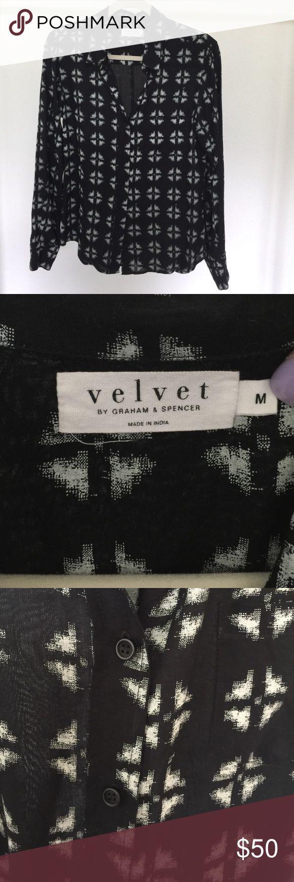 VELVET by Graham & Spencer black button up size M VELVET by Graham & Spencer black button up size M 100% Rayon Velvet by Graham & Spencer Tops Button Down Shirts