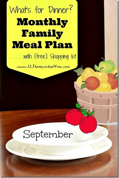 FREE Monthly Family Meal Planner - September (includes free weekly grocery lists! #mealplanner #family #recipes