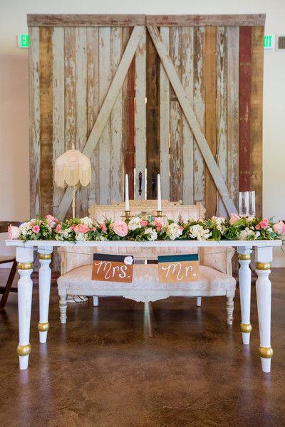 Shabby chic wedding sweetheart table - stunning! {@jennifergweems}