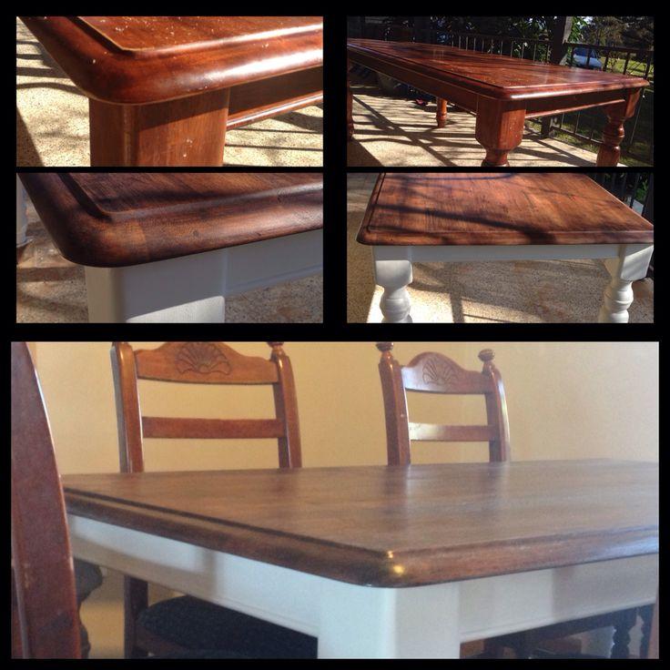 Before and after table restoration www.facebook.com/RestoredbyGil