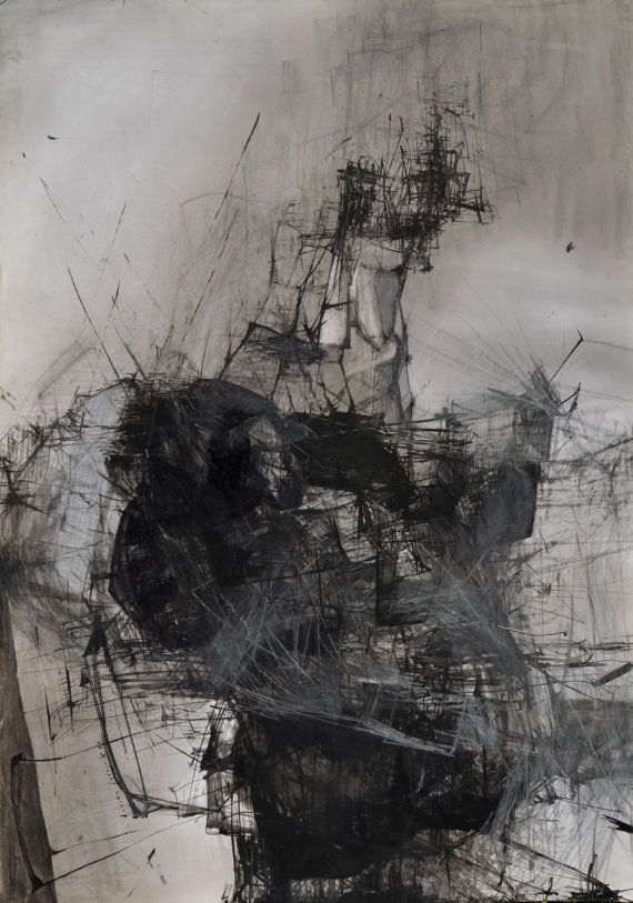 Ink Drawing Original Contemporary Art Abstract by obversDeSIGN, $365.00