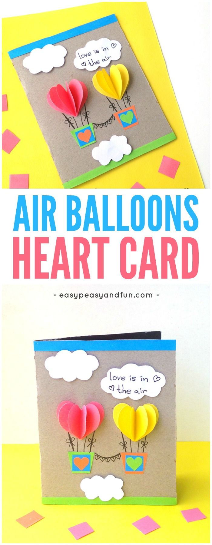 Heart Air Balloons Card Craft Idea for Kids to Make #Valentinesdaycrafts #craftsforkids #papercraftsforkids