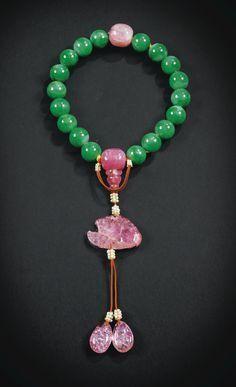 Rosaire en jad??ite et tourmaline, shou chuan. Dynastie Qing, XIXe si??cle