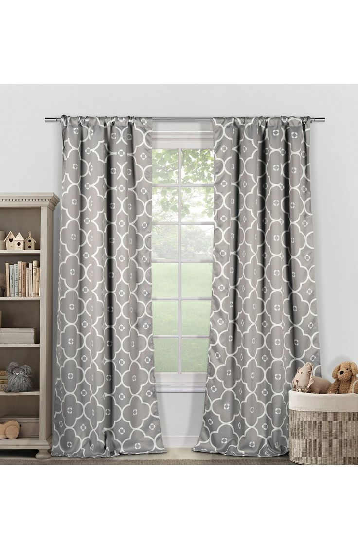 Grayson silver gray jacquard fabric cloth bathroom bath shower curtain - Lala Bash Ginger Window Panels Available At Nordstrom
