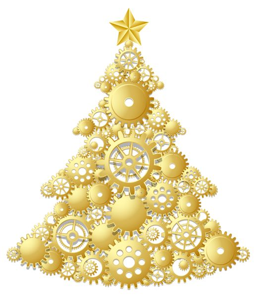 Gold Steampunk Christmas Tree PNG Clipart