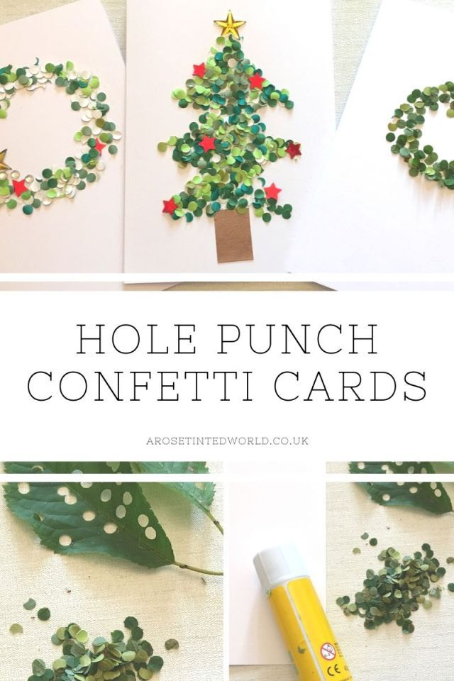 Hole Punch Confetti Cards An Easy Dotty Craft For Children A Rose Tinted World Confetti Cards Childrens Christmas Cards Diy Holiday Cards