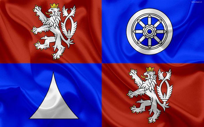 Download wallpapers Flag of the Liberec Region, silk flag, 4k, official symbols, flags of administrative units, Czech Republic, Liberec Region