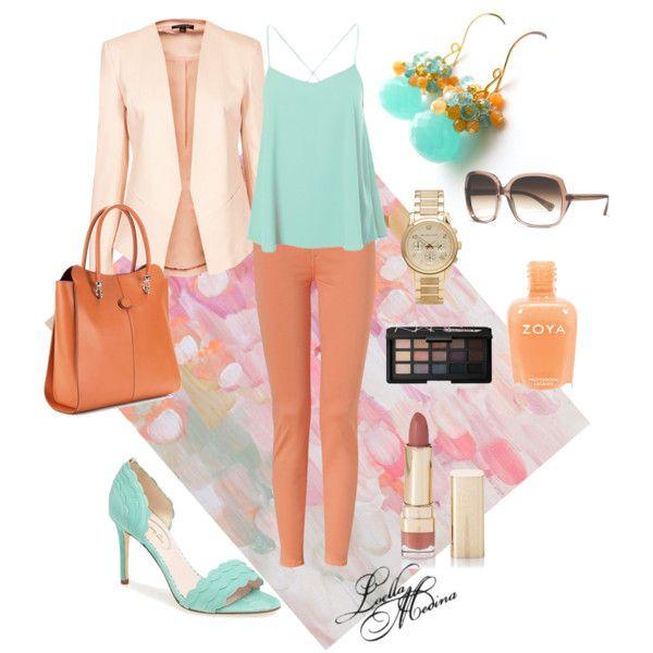 Aqua and Peach