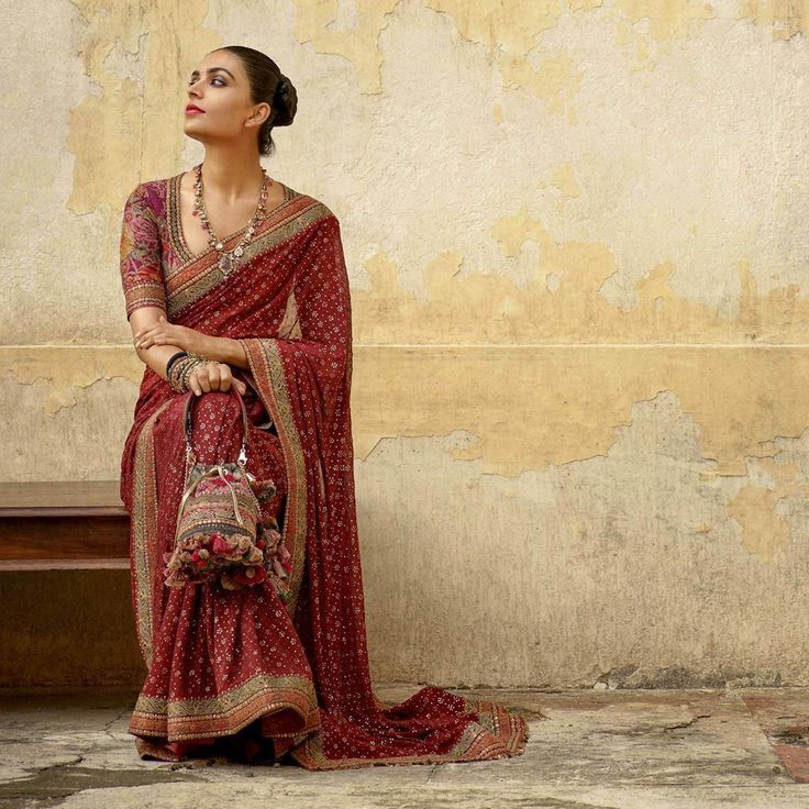 Red printed wedding saree Sabyasachi