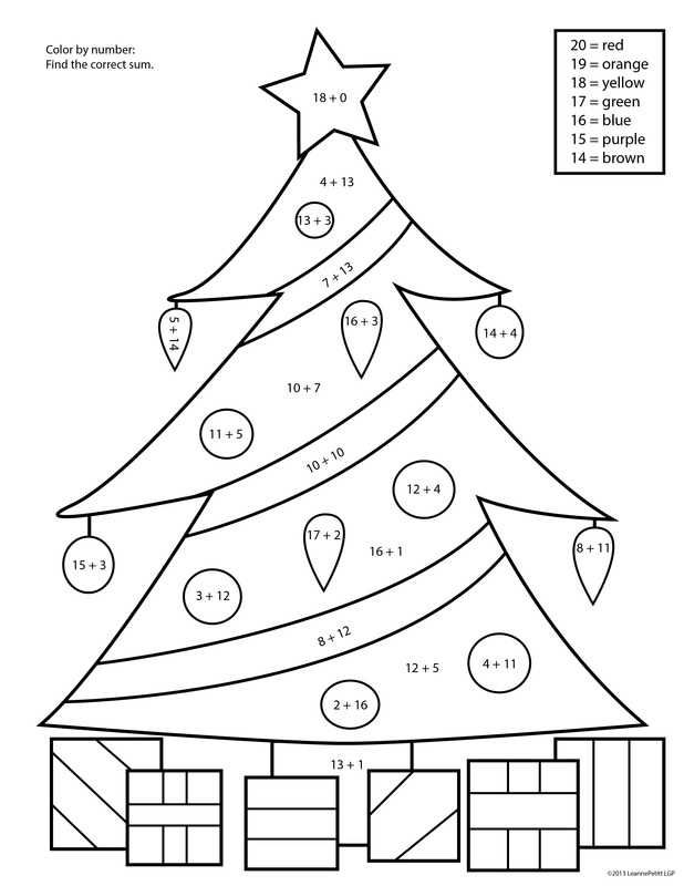 Printable Christmas Color By Number Christmas Color By Number Christmas Addition Color Worksheets
