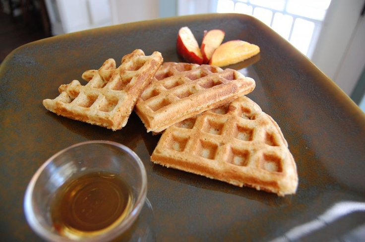 """Whole-Wheat Waffles....make a double batch and freeze what you don't eat. Then, use two triangles to make a """"sandwich"""" with cream cheese, fruit (like raisins or blueberries), and cinnamon as a snack later on in the week!"""