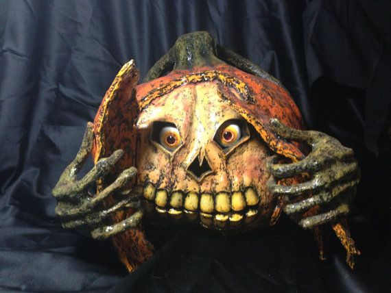 creepy halloween inside out paper mache pumpkin by draykrona 10000
