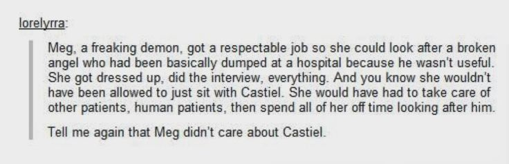 I agree<---Megstiel is the only supernatural ship I have, and it solidified with this. <3