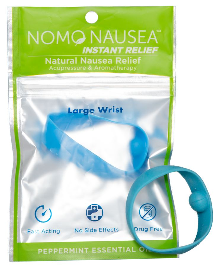 The NoMo Nausea Band infuses natural peppermint oil within a waterproof acupressure wristband. Although most acupressure bands work best when placed one hour before the nauseating event, the peppermin