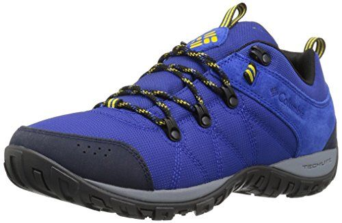 Columbia Men's Peakfreak Venture LT Hiking Boot  Omni-Grip non-marking traction rubber.  Techlite lightweight midsole for long lasting comfort, superior cushioning, and high energy return.  Midsole ports for air ventilation and cooling.  Waterproof suede and textile upper.  Waterproof breathable membrane construction. Fleece lining.