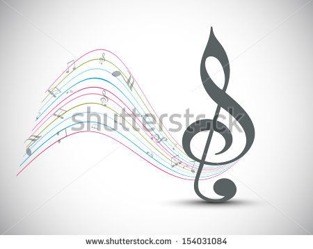 Abstract Musical Note On Colorful Wave Background Can Be Use As Poster Banner