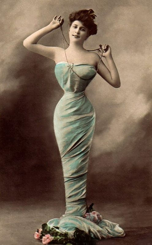 The mermaid dress was a Gibson Girl fashion that sprung from the look of the tiny waist. Women went to great lengths to have their waists cinched, keeping the style alive until the 1920's.