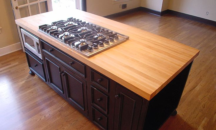 Best Finish For Butcher Block Countertop: 1-1/2 Inch Hard Maple Wood Island Countertop In Blond