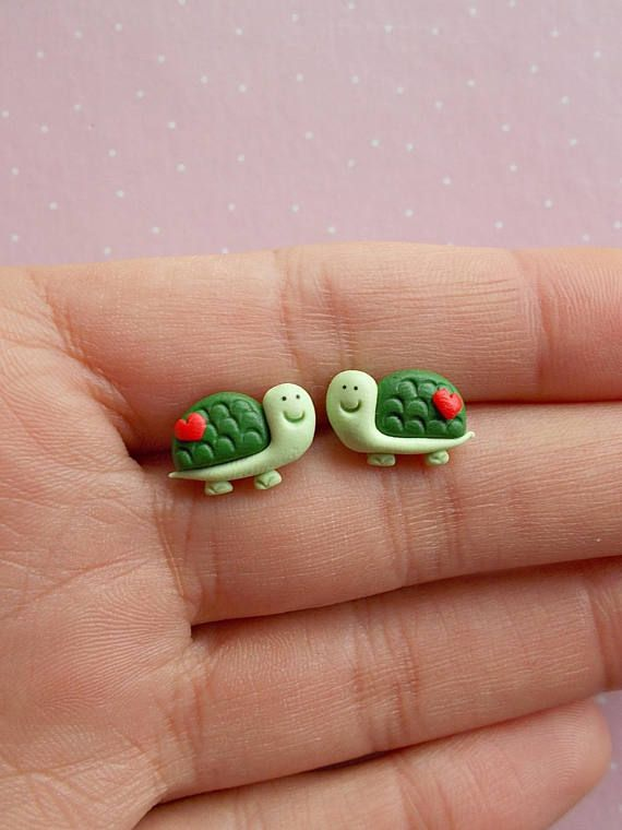 Turtle earrings created from polymer clay without molds or forms. The lenght of each earring is 1.2 cm. ❀ Because i make everything by hand, the item you receive may differ slightly than shown on the pictures. ❀ Price is for one pair of earrings. ❀ I ship the orders very quickly, in 1 to 3