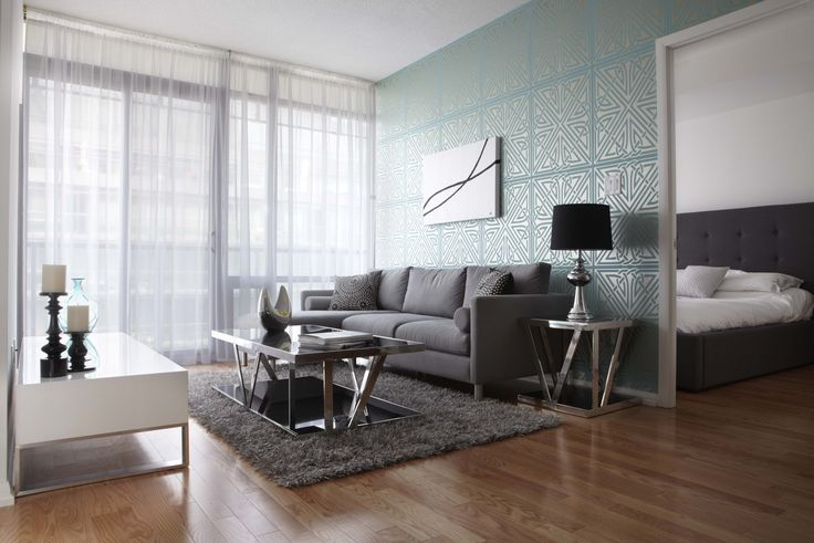 29 Living Room Design Ideas With Photos: Contemporary Living Room With Turquoise Geometric