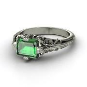 Emerald-Cut Emerald White Gold Ring