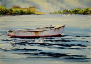 Rusty Dinghy, 14x20 #watercolor #painting $195. I painted this as a demonstration in one of my recent workshops. Subjects like this are favorites among my #art students!