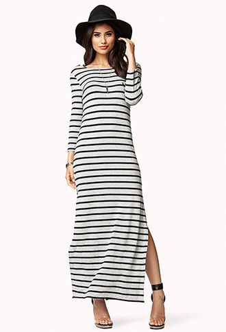 Grey and black striped maxi dress