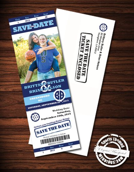 Basketball Themed Wedding Ticket Save the Date Magnets - under $2.00 each