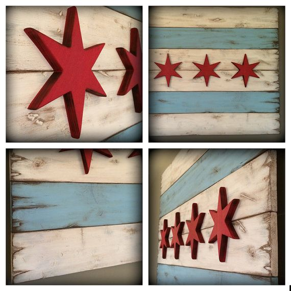 This is a unique, handmade wooden piece of the Chicago flag. The wood has been cut, distressed with tools, burned with a torch, and painted to