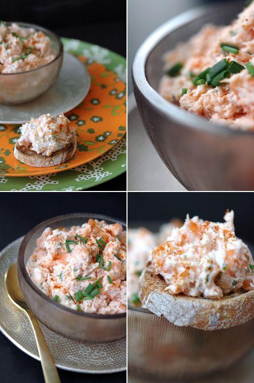 Rillettes de saumon/crème/ciboulette