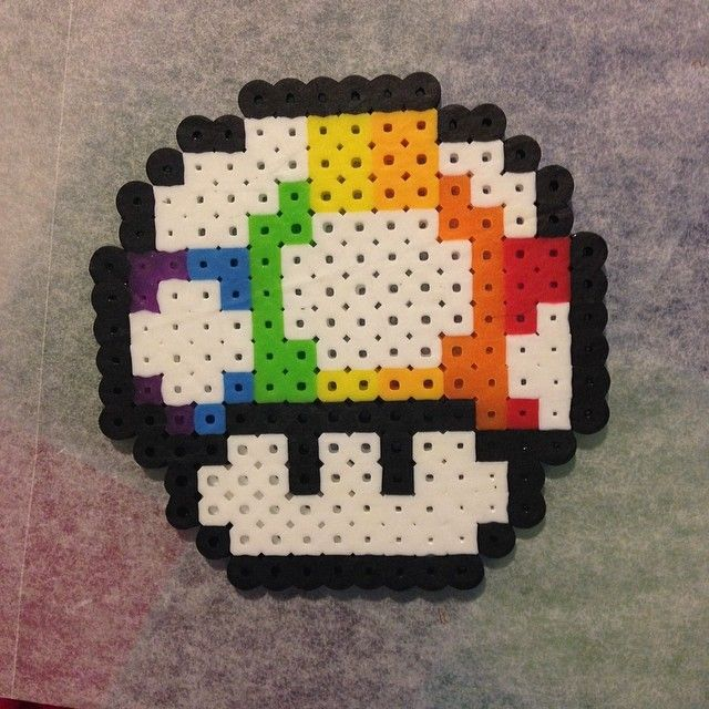 Rainbow Mushroom Perler Beads By Doctor Perler Perler Bead