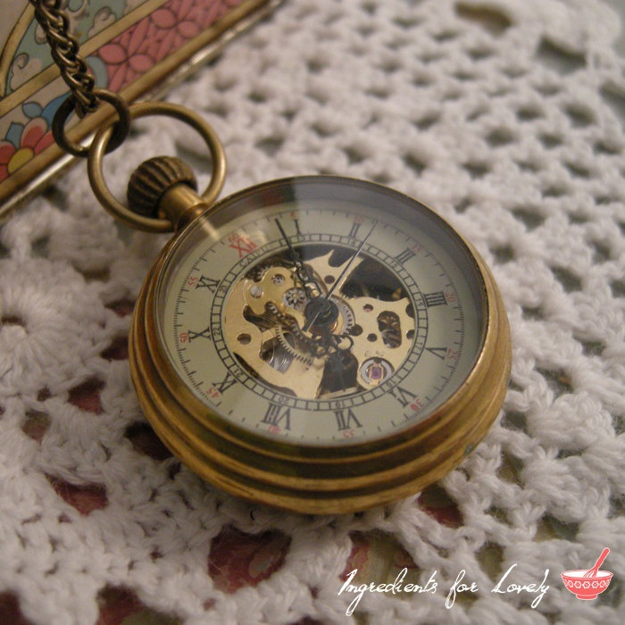 1 Pc WIND-UP Mechanical Working Gears Grandfather Pocket Watch Necklace Pocketwatch Vintage Style CHAIN Included. $19.99, via Etsy.