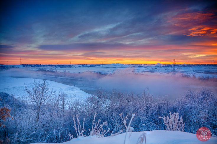 Edmonton River valley sunrise winter hoar frost mist beauty sky landscape nature