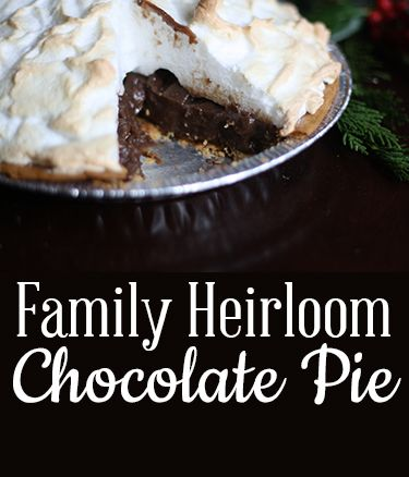 Super special family chocolate pie recipe. Easy, light and rich, delicious flavor! You probably have most of these ingredients in your pantry already.